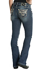 Miss Me Women's Floral Mid Rise Boot Jeans