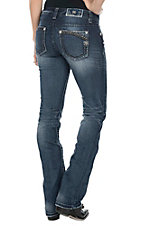 Miss Me Women's Faded Medium Wash with Embroidered Details Open Pocket Boot Cut Jeans