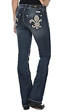 Miss Me Women's Faded Medium Wash with Embroidered Fleur De Lis Open Pockets Boot Cut Jeans