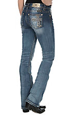 Miss Me Women's Medium Wash with Copper Cross Embroidery Open Pocket Boot Cut Jeans