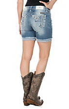 Miss Me Women's Light Wash with Cross Embroidery and Distressed Details Cut Off Shorts