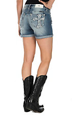 Miss Me Women's Medium Wash with Cross Embroidery Cuffed Shorts