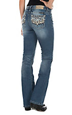 Miss Me Women's Medium Blue Wash with Scalloped Feathers Embroidered Open Pocket Boot Cut Jeans