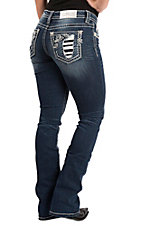 Miss Me Women's Dark Wash Rose Embroidered Slim Boot Cut Jeans
