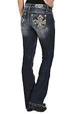 Miss Me Women's Dark Wash Maroon Cross Open Pocket Boot Cut Jeans