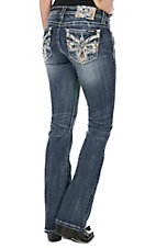 Miss Me Women's Medium Wash with Blue and Gold Embroidery Open Pocket Boot Cut Jeans