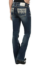 Miss Me Women's Faded Dark Wash with Diamond Embroidery Open Pocket Boot Cut Jeans