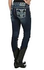 Miss Me Women's Faded Dark Wash with Blue Cross Embroid3erywith Sequin Embellished Open Pocket Skinny Jeans
