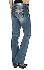 Miss Me Women's Medium Wash with White Embroidered Fake Flap Open Pocket Boot Cut Jeans