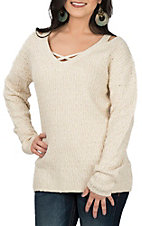 Derek Heart Women's Cream Cold Shoulder Fashion Sweater