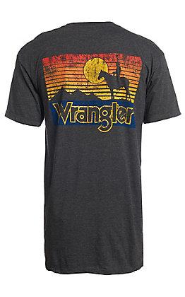Wrangler Men's Heather Grey Sunset Cowboy Short Sleeve T-Shirt