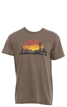 Wrangler Men's Brown Sunset Burst Short Sleeve T-Shirt