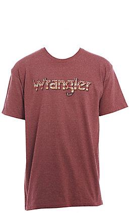 Wrangler Men's Burgundy Aztec Logo Short Sleeve T-Shirt