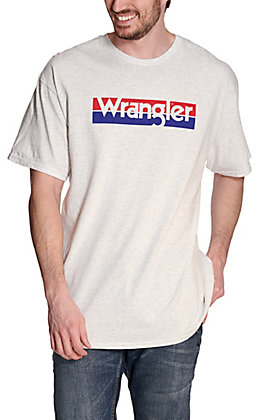 Wrangler Men's Heather Grey with Red & Blue Logo Short Sleeve T-Shirt