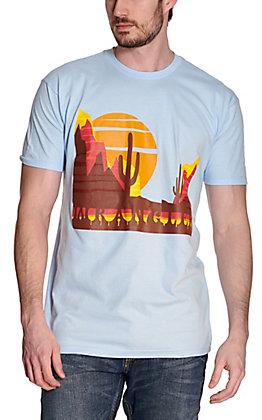 Wrangler Men's Powder Blue Desert Sunset Logo Short Sleeve T-Shirt