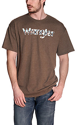 Wrangler Men's Heather Brown with Checotah Aztec Logo Short Sleeve T-Shirt