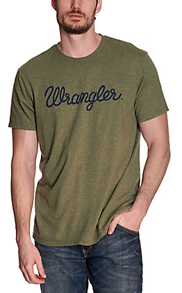 Wrangler Men's Sage Green with Navy Script Logo Short Sleeve T-Shirt