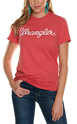 Wrangler Women's Red with White Script Logo Short Sleeve T-Shirt