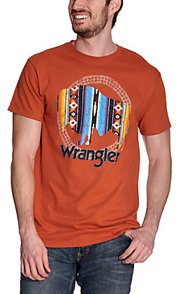 Wrangler Men's Burnt Orange Serape Buffalo Graphic Logo Short Sleeve T-Shirt
