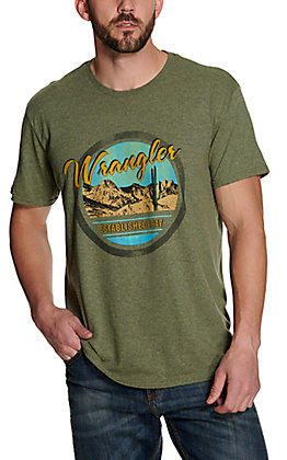 Wrangler Men's Heather Sage Vintage Desert Logo Graphic Short Sleeve T-Shirt