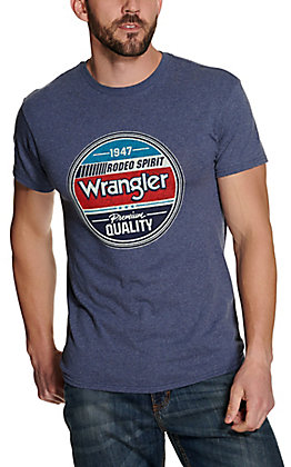 Wrangler Men's Blue Rodeo Spirit Graphic Short Sleeve T-Shirt