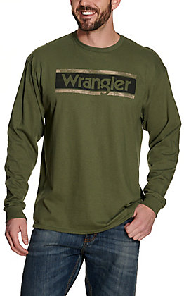 Wrangler Men's Moss Green with Vintage Distressed Logo Long Sleeve T-Shirt