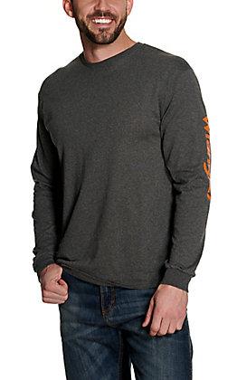 Wrangler Men's Heather Charcoal with Orange Logo Long Sleeve T-Shirt