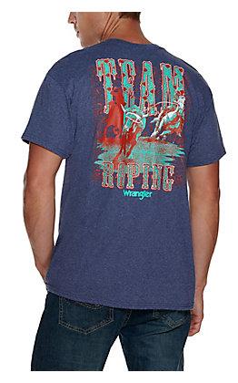Wrangler Men's Heather Navy Aztec Team Roping Graphic Short Sleeve T-Shirt