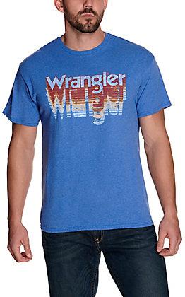 Wrangler Men's Heather Blue Cascading Logo Short Sleeve T-Shirt