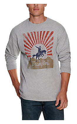Wrangler Men's Grey Bronc Logo Graphic Long Sleeve T-Shirt