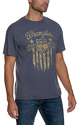 Wrangler Men's Heather Blue with Patriotic Badge Graphic Short Sleeve T-Shirt