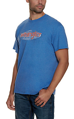 Wrangler Men's Blue with Wood Logo Short Sleeve T-Shirt