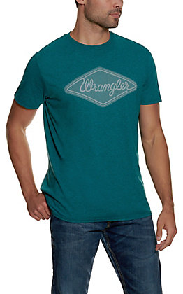 Wrangler Men's Heather Teal with White Diamond Logo Short Sleeve T-Shirt