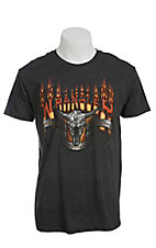 Wrangler Men's Charcoal Flaming Skull Short Sleeve Tee
