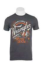 Wrangler Men's Charcoal with Denim Logo Screen Print Short Sleeve T-Shirt