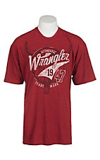 Wrangler Men's Red with Steer Head Logo Screen Print Short Sleeve T-Shirt