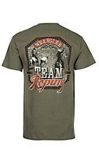 Wrangler Men's Olive Team Roping Graphic Short Sleeve T-Shirt