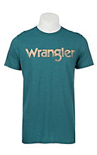 Wrangler Men's Cyan with Orange and Peach Logo S/S T-Shirt