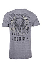 Wrangler Men's Denim Heather Blue with Steer Head Logo Short Sleeve T-Shirt
