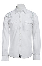Rock 47 by Wrangler Men's White with Embroidery Western Shirt MRC198W