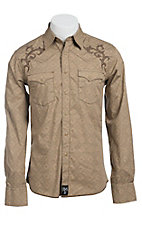 Rock 47 by Wrangler Men's Khaki Print with Embroidery Western Shirt MRC203M