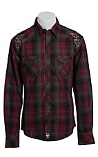 Rock 47 by Wrangler Men's Maroon and Grey Plaid Western Shirt