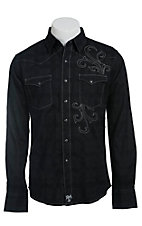 Rock 47 by Wrangler Men's Black Tonal Plaid with Embroidery Western Shirt