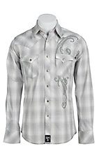 Rock 47 Men's Grey and White Plaid with Embroidery Western Shirt