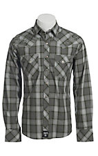 Rock 47 Men's Green and Grey Plaid with Embroidery Western Shirt
