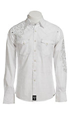 Rock 47 Men's Solid White Dobby with Embroidery Western Shirt
