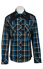 Rock 47 Men's Black & Blue Plaid with Embroidery Western Shirt