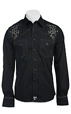 Rock 47 by Wrangler Men's Tonal Stripe with Tribal Embroidery Western Shirt