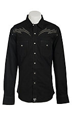 Rock 47 Men's Black with Tribal Embroidery Western Shirt