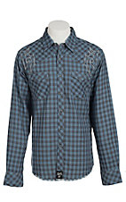 Rock 47 Men's Blue & Grey Plaid with Embroidery Western Shirt